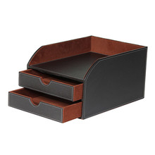 Faux Leather Desktop 2 Tier Sorter with Letter Tray For A4 File Paper Document