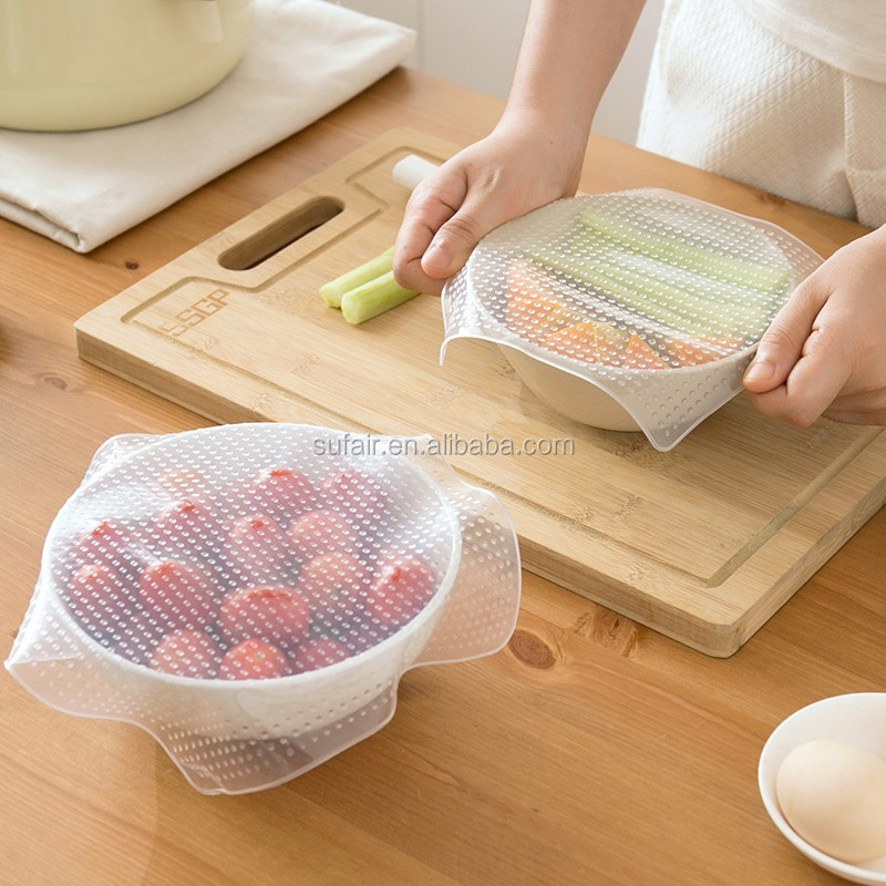 Sufair microwave heat resistant cooking food covers reusable clear silicone stretch hood film