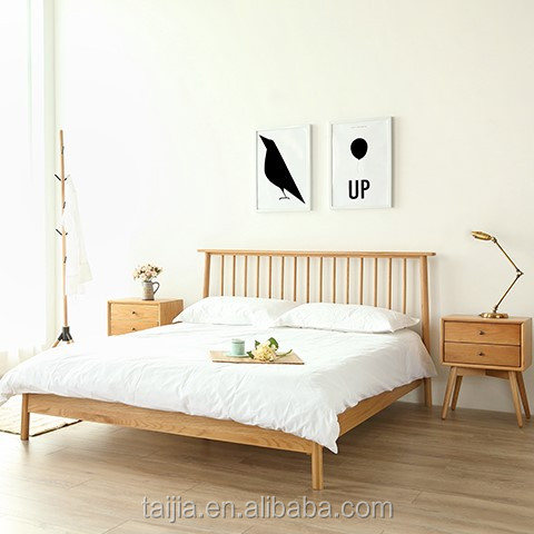 Customized modern nature very simple lines solid oak platform bed frame