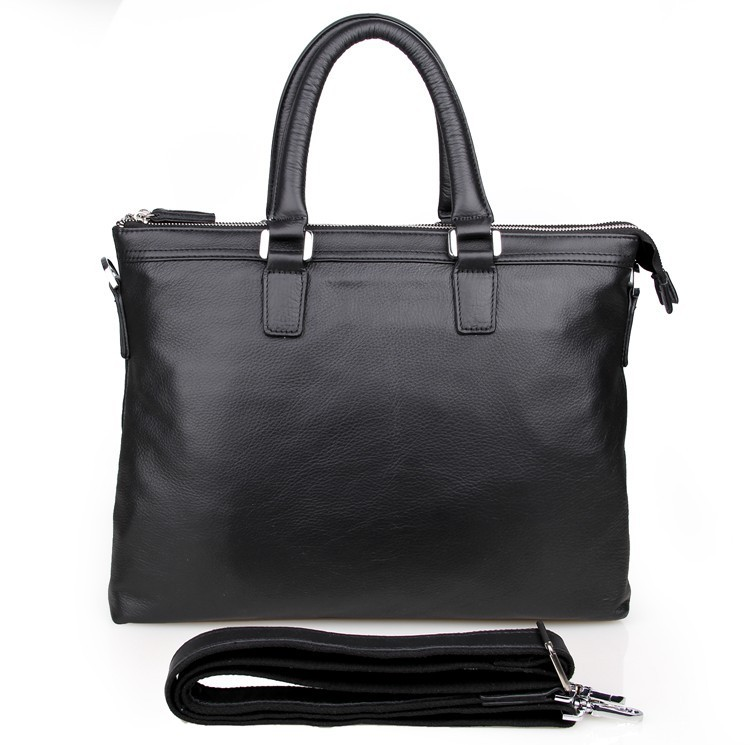 <strong>100</strong>% Genuine Leather Black Men's Applied Style Briefcases Laptop Bag 7247A