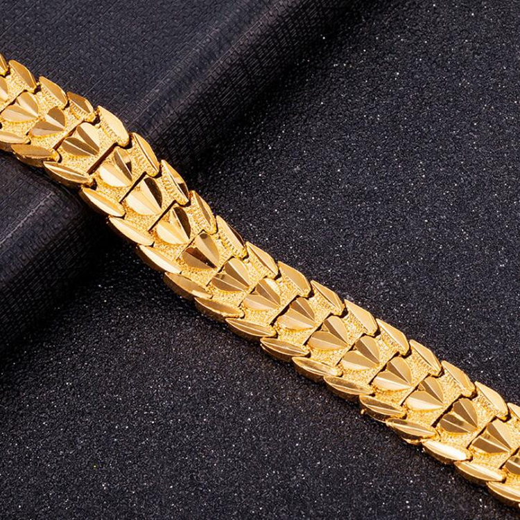 Mens 24K Real Gold Plating Wholesale Environmental Copper Bracelet Jewelry