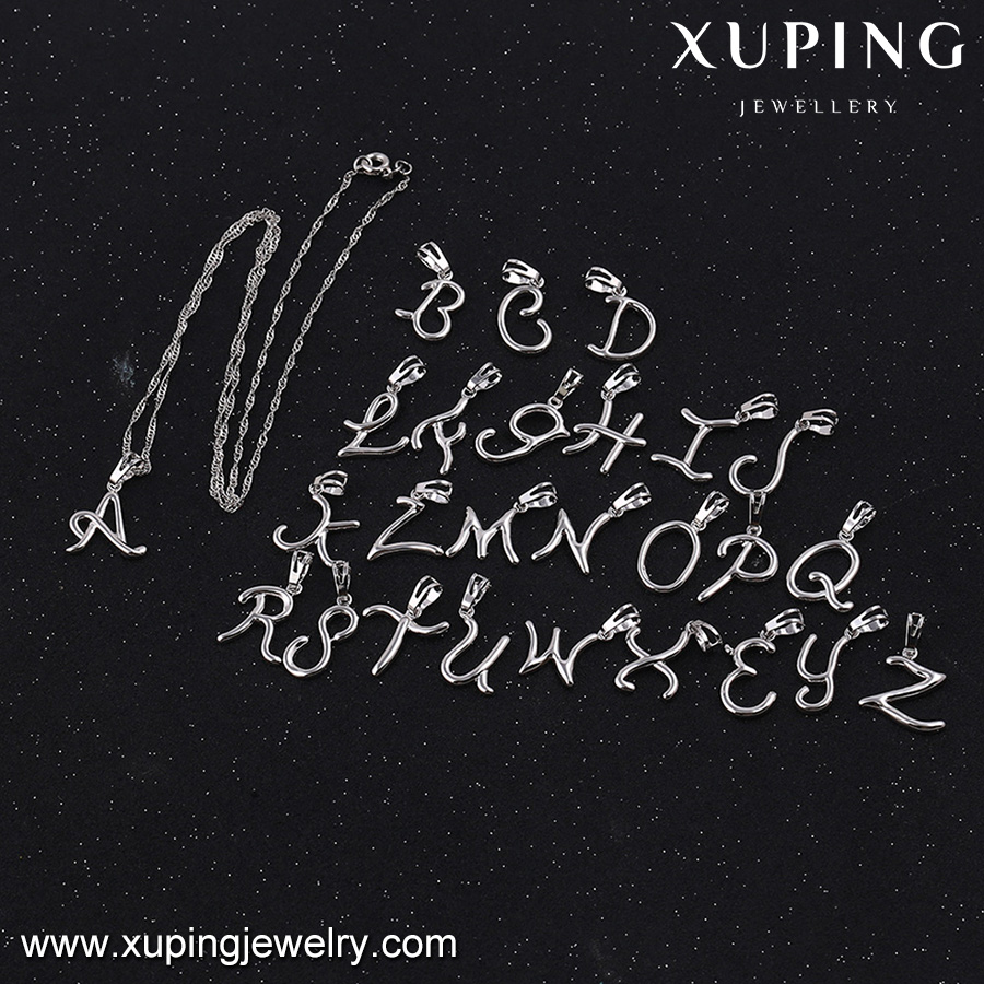 32579 XUPING alphabet pendant plain design without gemstones different letter costume jewellery