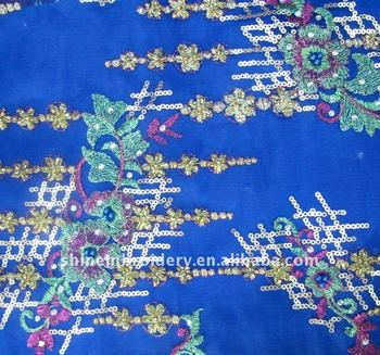 fancy wedding embroidered tulle fabric with beads sequence, chinese dress fabric