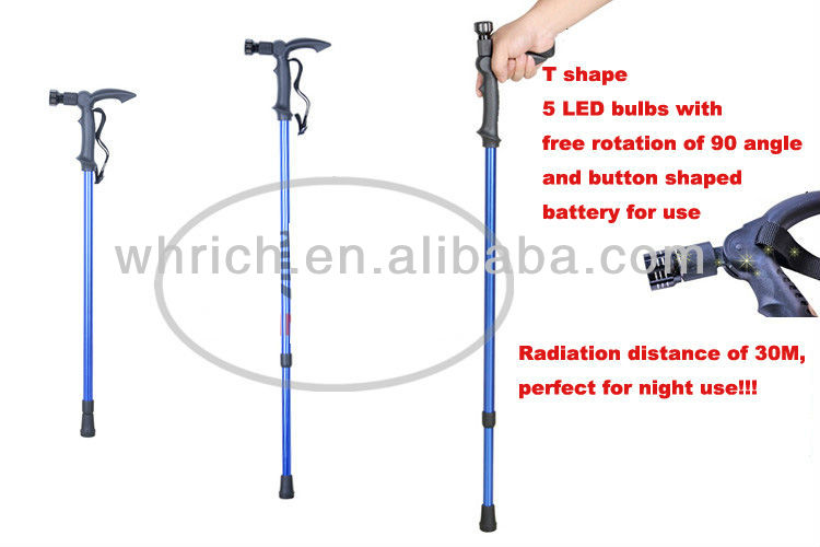 2013 New products! New design two-in-one top quality fishing rod+alpenstock walking stick with 5 LED lights,free rotation