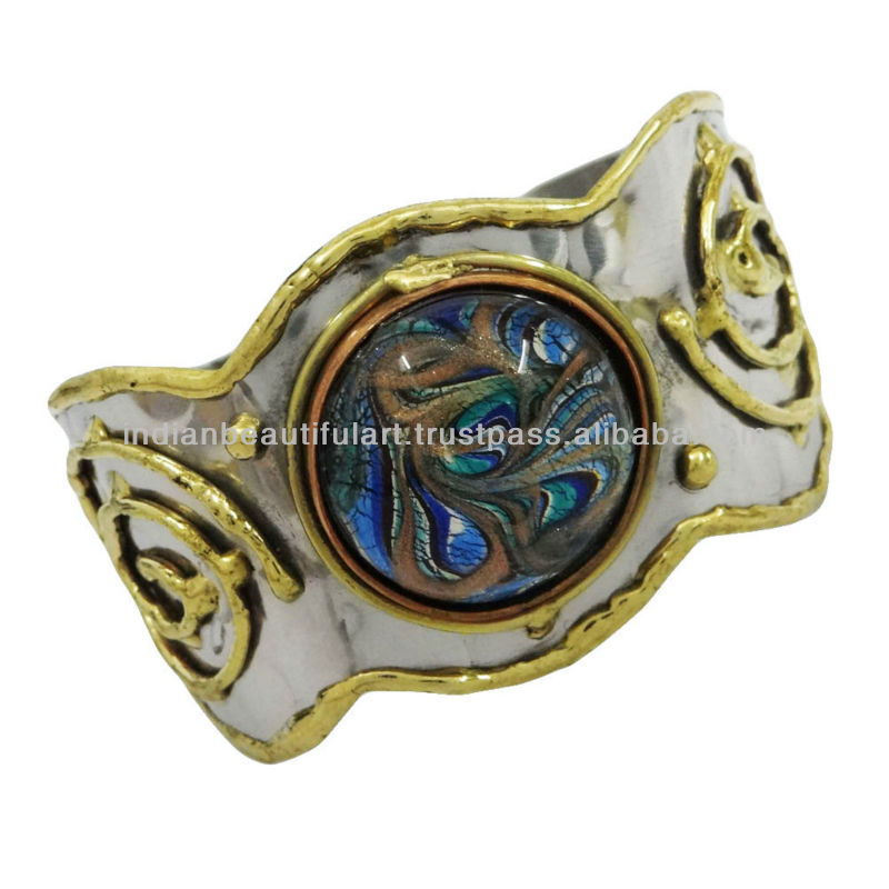 Abalone Stone Silver Tone Nepal Design Adjustable Cuff India Fashion Jewelry