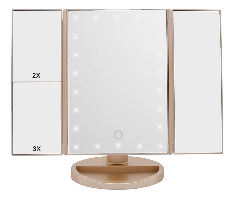 Amazon makeup led mirror tri fold white  vanity mirror with led light stand wholesale