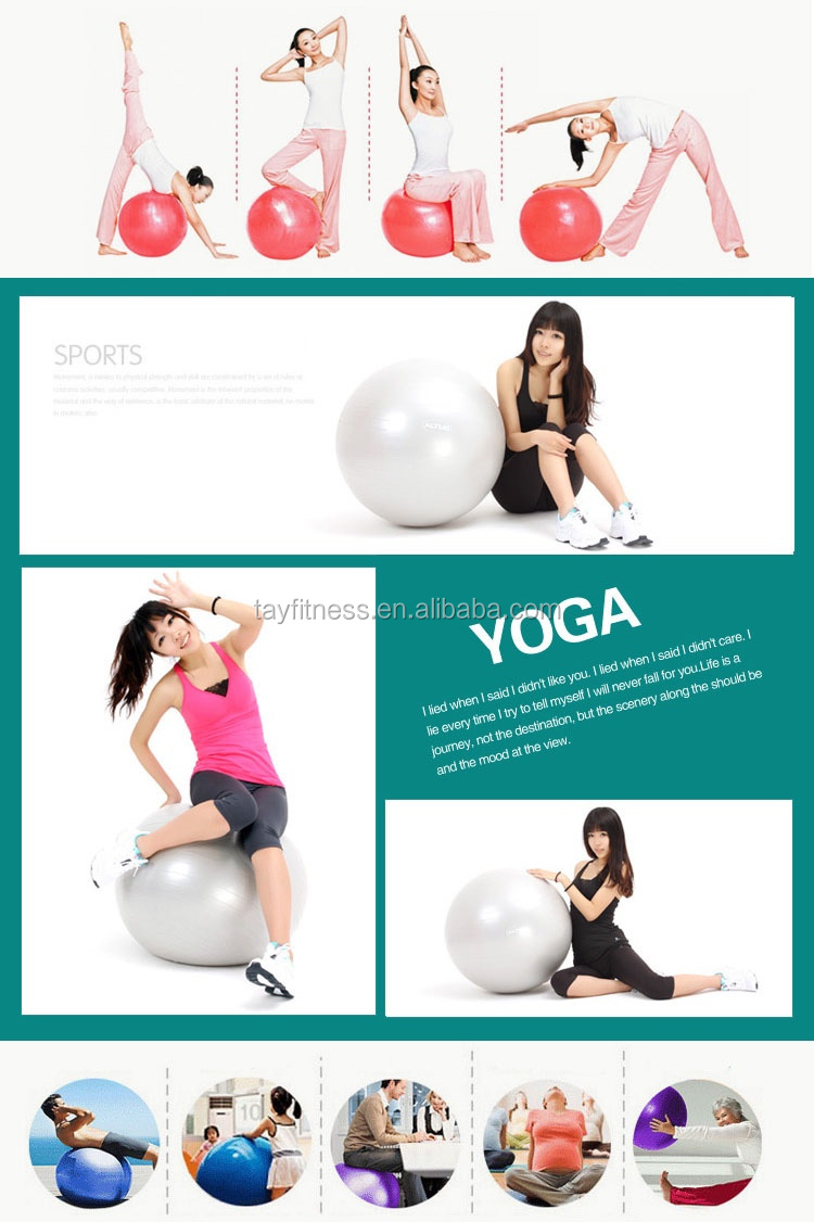 Eco friendly anti burst wholesale soft yoga ball with custom logo