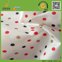 polyester 190T taffeta circle dot print lining fabric for russin makert 2015 hot product