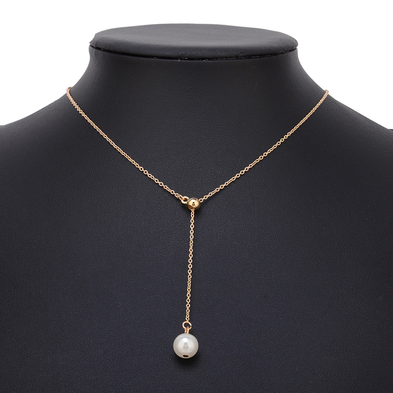 CS00472 JN wholesale Fashion gold plated chain layered choker pearl pendant necklace