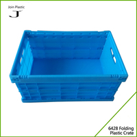 New design plastic collapsible foldable storage moving crate with lid