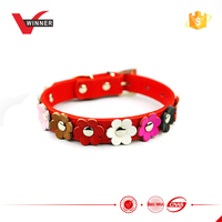 Hot sale Red color genuine leather dog collars