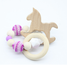 Wholesales Baby Wooden Teether Beech Wood Horse Teething Montessori Toys DIY Chewing Crochet Beads Bracelet Teethers