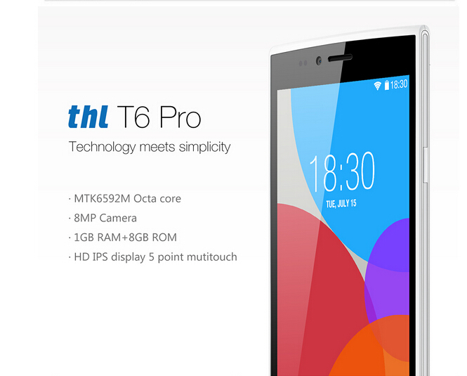 "Newest Original THL T6 PRO Mobile Cell Phones MTK6592M Octa Core Android 4.4 Smartphone 5.0"" IPS 1GB RAM 8GB ROM GPS in stock!!!"