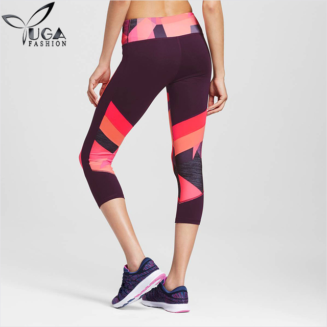 Patterned Color Block Workout Leggings Fitness Capris Compress Body Tights For Women