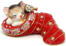 Fashion Metal Alloy Pewter Rhinestone Crystal Enamel Cat Trinket Jewelry Box