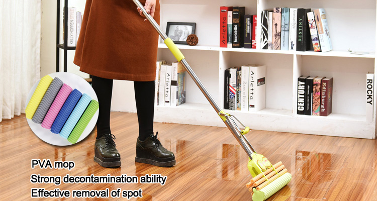 Multi-functional yellow color pva synthetic spray mop