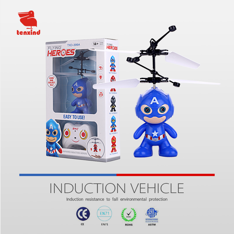 TXD399A-1 quality LED mini astronaut RC radio controlled sensor Flying helicopter toy
