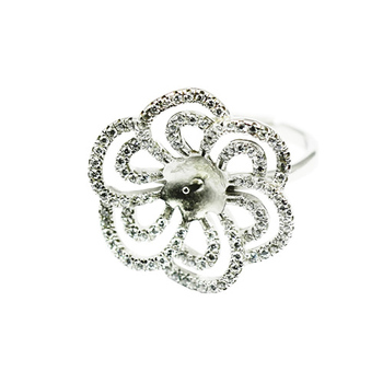 Beadsnice ID30623 925 silver rings base flower adjustable US ring size 7 to 9 fit 6.5mm round gemstone sold by PC couple rings