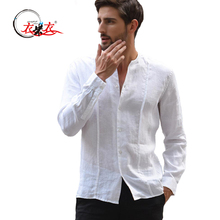 China manufacturer men linen and cotton shirt collarless white casual shirt
