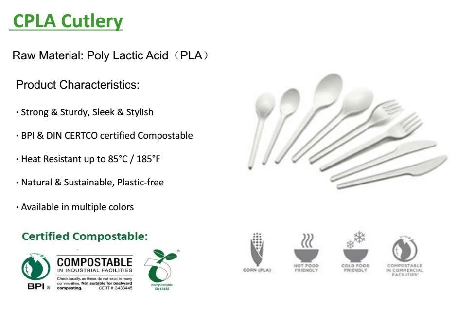 hot selling 100% biodegradable CPLA cutlery