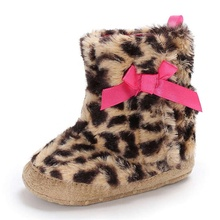 China Factory Leopard print Winter snow warm Newborn shoes Toddler baby booties