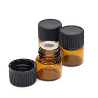 1ml Amber Glass Vial Essential Oil small glass Bottle with Black Caps Stopper