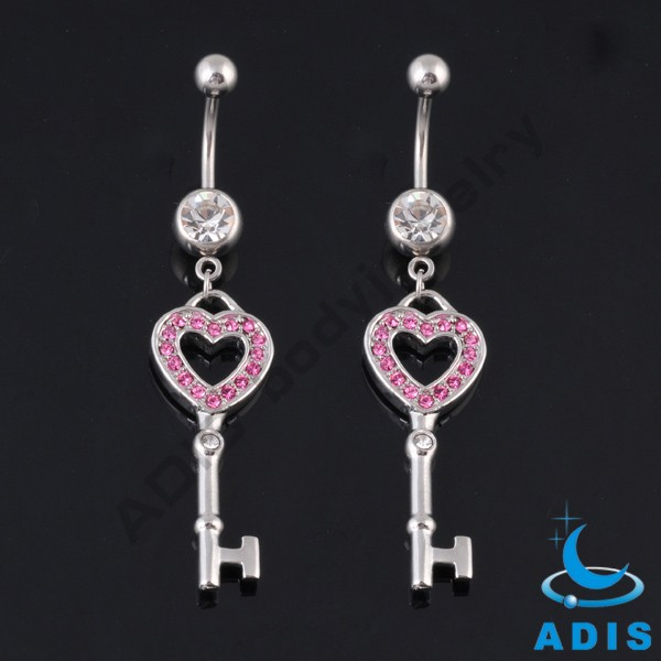 Unique design multi jeweled key-shaped belly button ring for girls