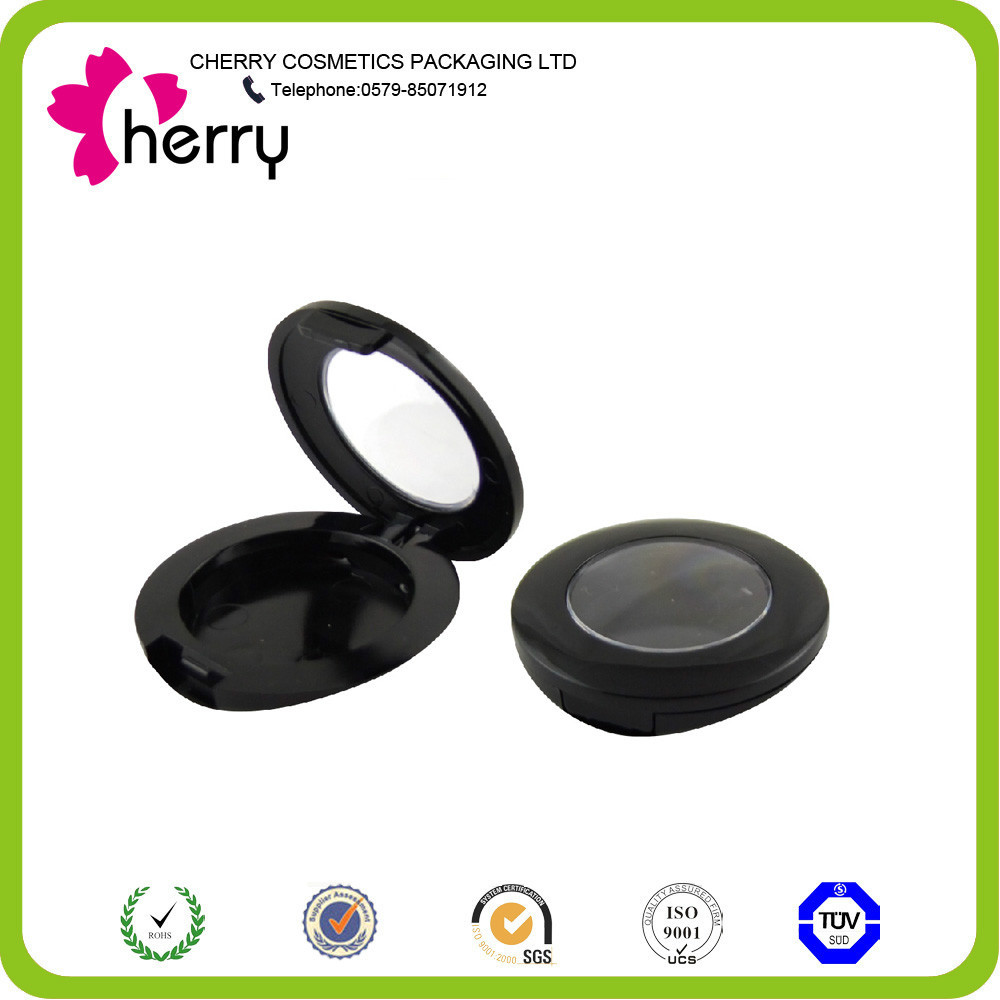 Shiny black round empty eyeshadow case with keyboard shape for casing