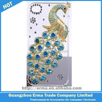 Newest Bling 3D Peacock Pattern Crystal Diamond Rhinestone Hard Case Cover for iPhone 5 5S