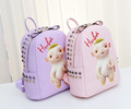 2017 new arrival cute girls school bag pu leather packpack with cartoon pattern