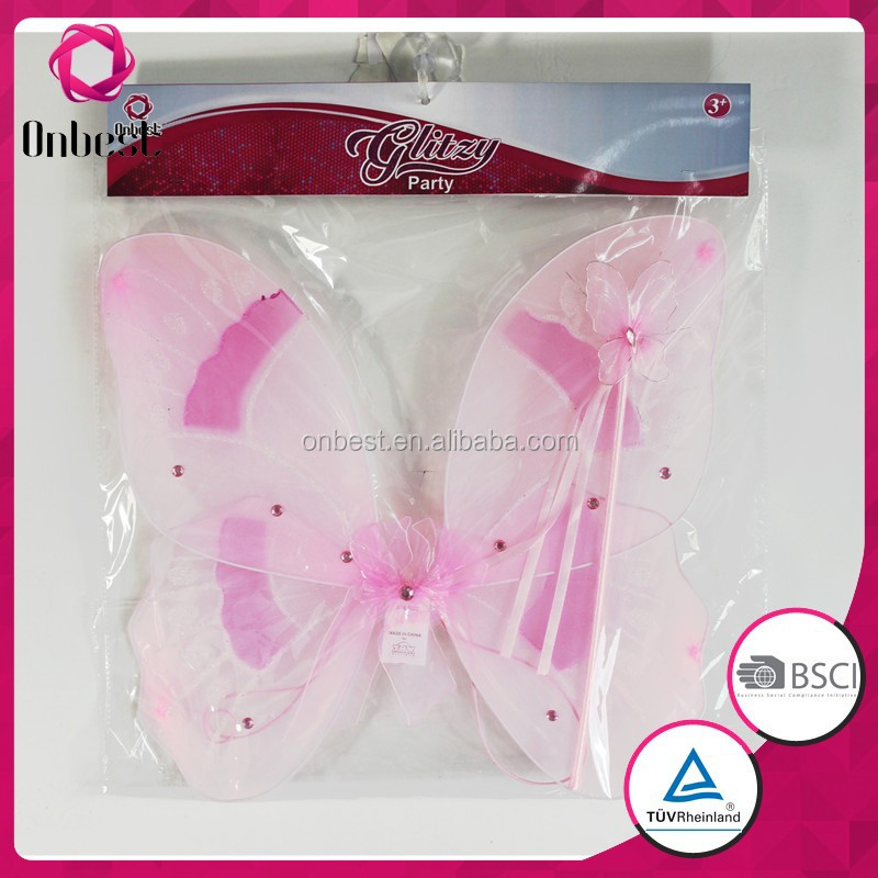 ligh up fairy wings birthday party wholesale magic wand hot pink fancy dress angel wings with gems decoration