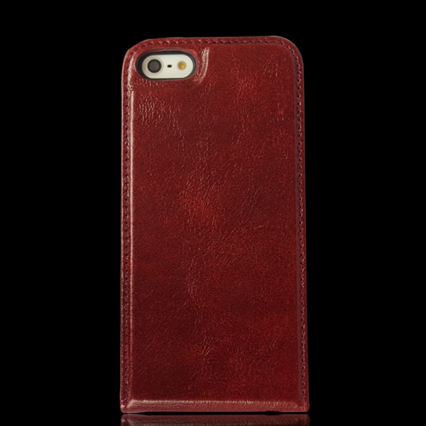retro real top layer cow leather mobile phone cover case for iphone 5 5s 5c vertical flip business card slots case leather