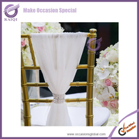 K5814 Holiday Cheap Wholesale Wedding Chair Covers White Chiffon Chair Sashes