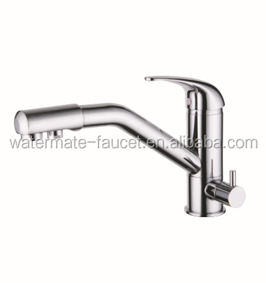 Single lever 3 way kitchen faucet in chrome