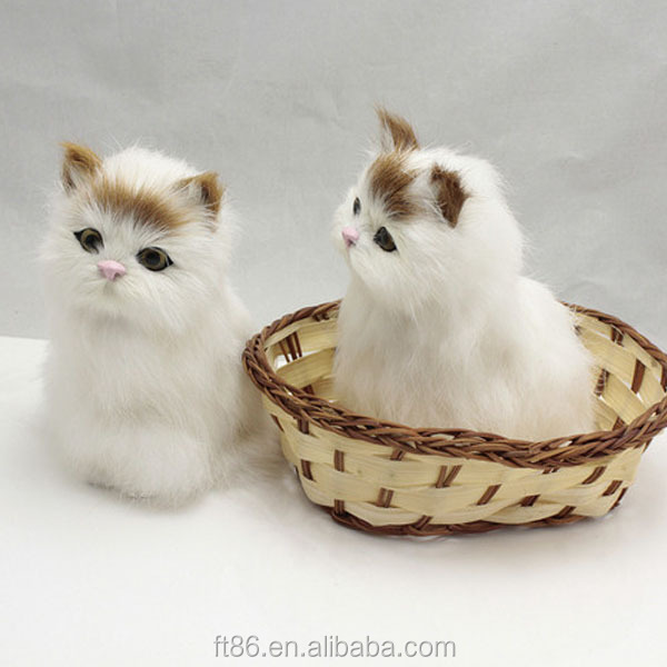 furry small plush decorative white cats lifelike