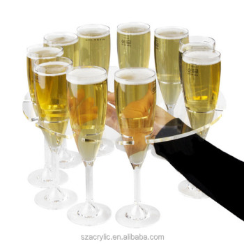 acrylic champagne flute suspension serving tray