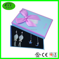 Custom cheap cardboard paper jewellery gift boxes with ribbon bow