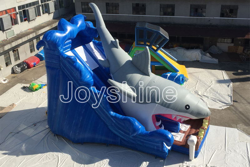 2019 Summer Crazy Water Park Pool Slides Castle Kids and Adult Used PVC Inflatable Shark Water Slide For Sale