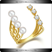 New design jewelry gold plated 925 silver rings with natural pearls and crystals