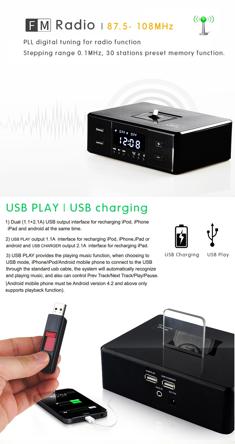 Portable Wireless Music player Bluetooth Radio Speaker with NFC Bluetooth Speaker, Alarm clock, Radio, Dock Charging Station
