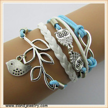 infinity bracelet supplies owls,Birds, Lucky Leaf Bracelet in Silver/Bronze - Choose Your Favourite Color infinity bracelet