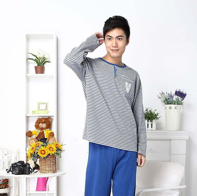 2012 spring 100% knitted cotton fabrics middle thickness men's pajamas set long sleeve,leisure home furnishing