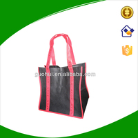 Black non woven tote bag with red long handles extend to bottom, customize strong non-woven bag with printing logo on handles
