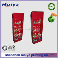 Supermarket printing hook cardboard display rack for Christmas gifts,plastic hook display for Christmas promotion