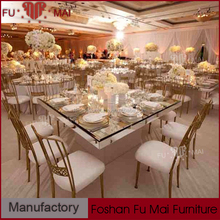 Alibaba on sale rectangle mirror top stainless steel table wedding furniture