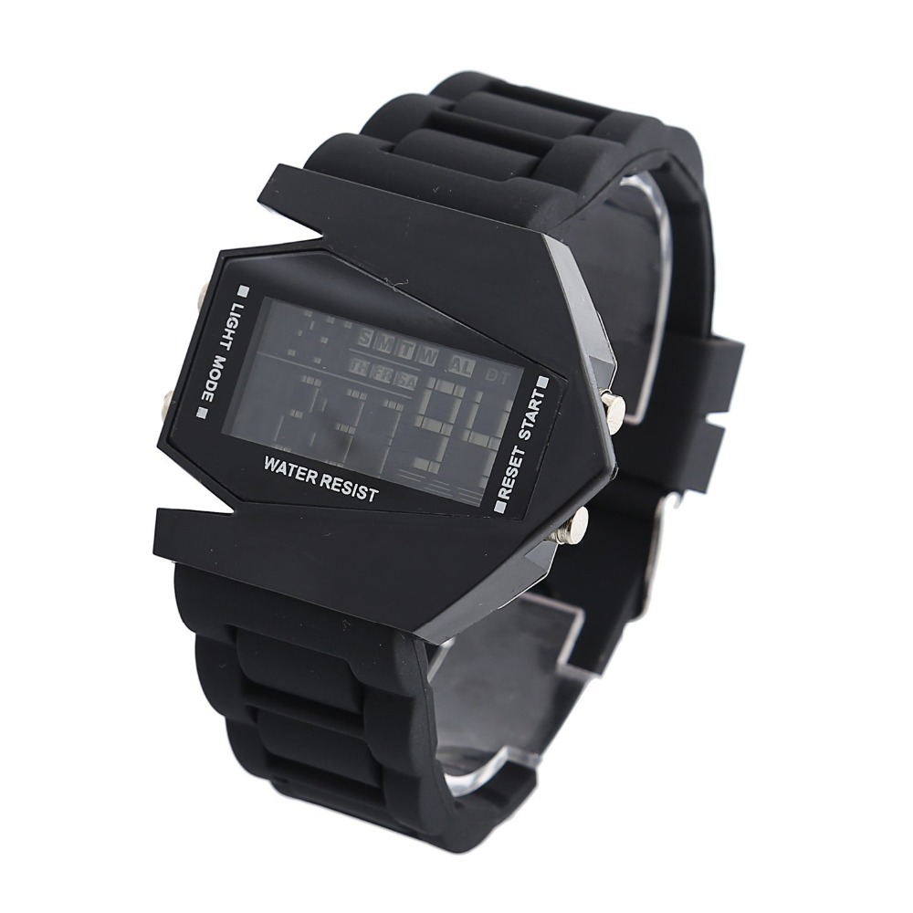 New Fashion Hot Elegant Plane Style Digital Display Watch Sports LED Silicone Wrist Watch