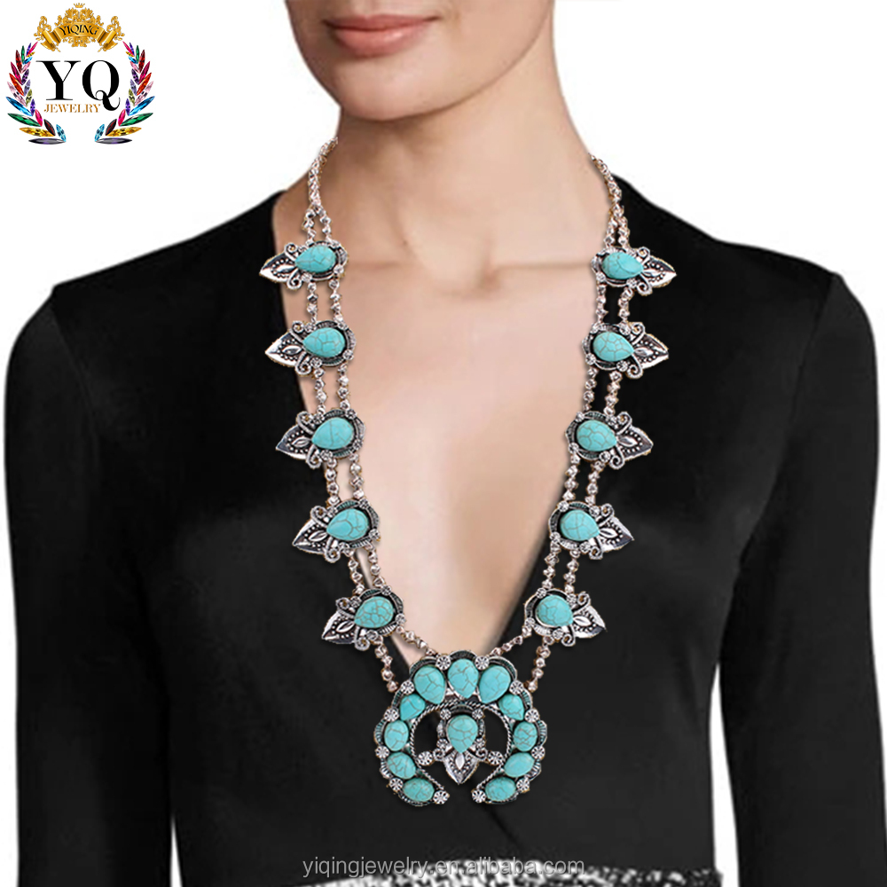 NYQ-00071 2016 Navajo Sterling Silver & Turquoise Squash Blossom Necklace bohemian