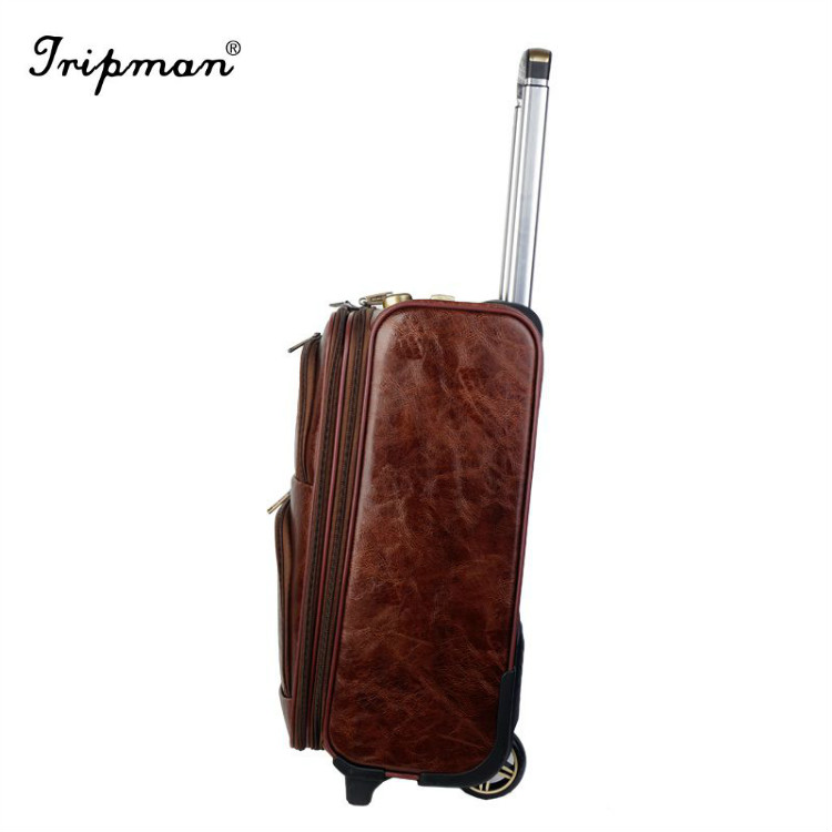 Built In Wheels Cheap 4 PCs Trolley Pu Leather Luggage Case