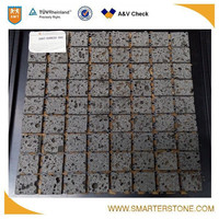 Creative basalt lava stone mosaic with holes