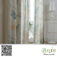 Country rural Style Flame retardant Faux Linen Polyester Material Ready Made Printing Curtain